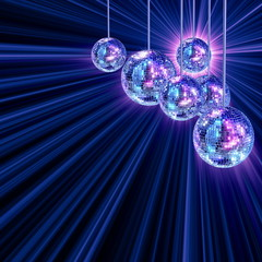 Colorful funky background with mirror disco balls