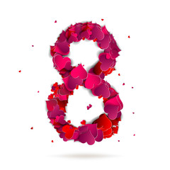 Number eight, 8 made from red hearts Love alphabet
