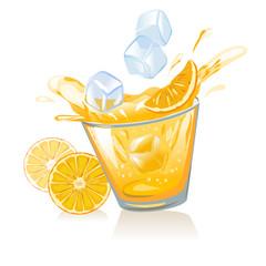 glass of orange juice and ice cubes