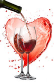 Red wine pouring into glasses with splash against heart isolated