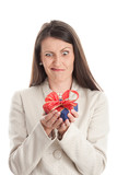 Woman with unwanted gift