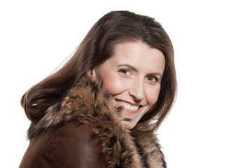 Woman wearing sheepskin