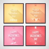 Set of posters with lettering Vallentine's Day. Flat design