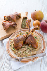roasted goose thighs with grits