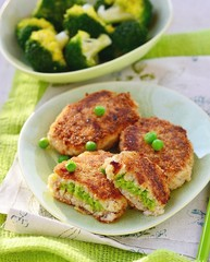 fish croquette with green pea