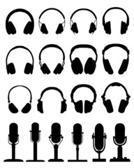 Black silhouettes of headphones and microphones, vector