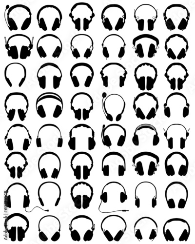 Big set of black silhouettes of headphones, vector