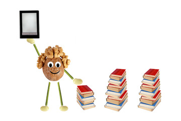 Funny little man of the walnut compares e-book and simple books