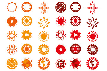 Various logo-designs in red and orange colors isolated over whit
