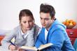 Zwei Studenten lernen mit einem Buch