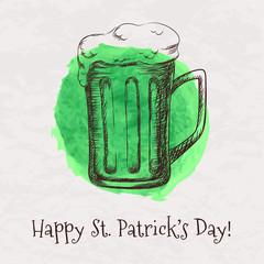 Vector hand drawn beer mug for St. Patrick's Day