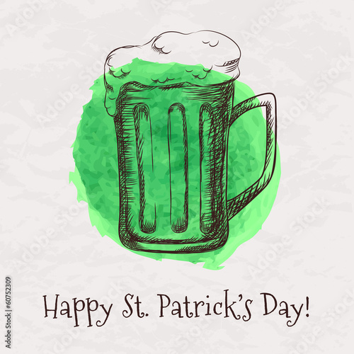 Vector hand drawn beer mug for St. Patrick's Day