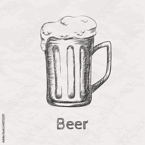 Vector illustration of hand drawn sketch of beer mug