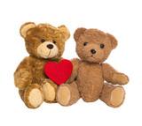 Zwei Teddybären mit Herz in rot freigestellt