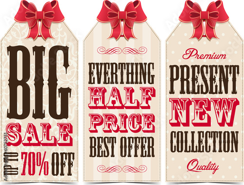 Sale tags with bow