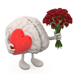 brain with arms, leg, bunch of roses and red heart on hands