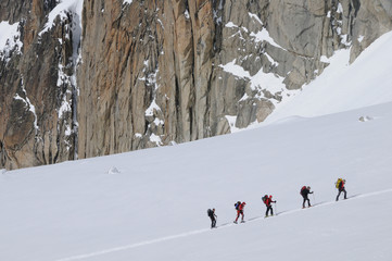 ski mountaineers group
