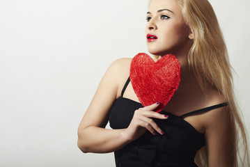 Sexy Beautiful Blond Woman with Red Heart.Valentine's Day