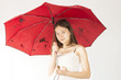 teenage girl with a red umbrella