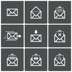 Mail icons. Mail delivery symbol. Print. Spam.