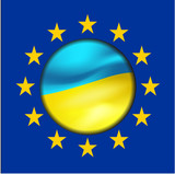 Ukrainian flag  and European Union