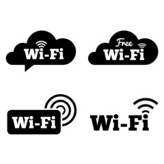 Wifi icons. Wifi symbols. Wireless cloud icons.