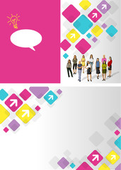 Colorful template for advertising brochure with business woman