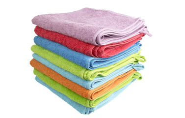 A stack of folded bath towels