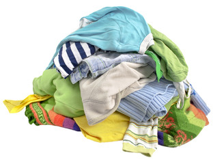 A pile of clothes on white background