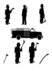 firemen silhouettes with retro truck