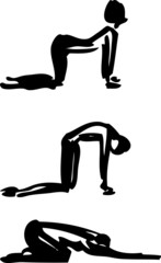Yoga sequence: stylized Cat-Cow pose.