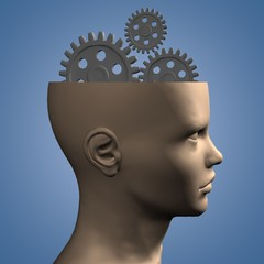 thinking concept with 3d head and gears