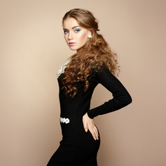 Photo of beautiful woman with magnificent hair. Perfect makeup