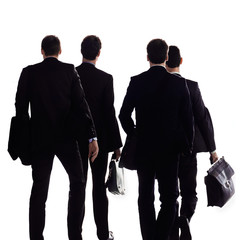 A group of businessmen on a white background.