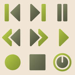Media player web icons vintage color series