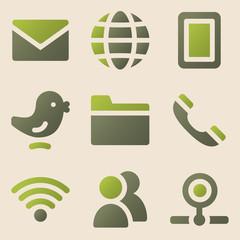Communication web icons vintage color series