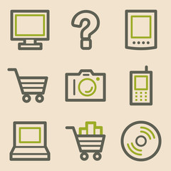 Electronics web icons, vintage series