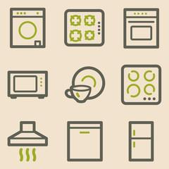Home appliances web icons, vintage series