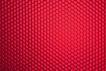 Honeycomb grid against red background