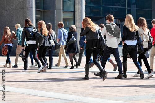 Group of young people walking.