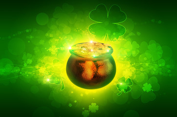 st patrick's pot of coins