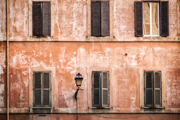 Wall of the Renaissance building in Rome Italy.