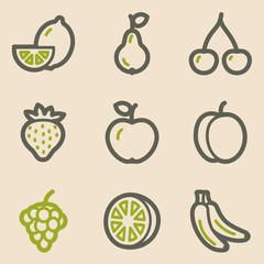 Fruits web icons, vintage series
