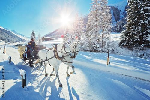 Leinwandbild Motiv Pferdeschlitten im Dischmatal – Schweiz