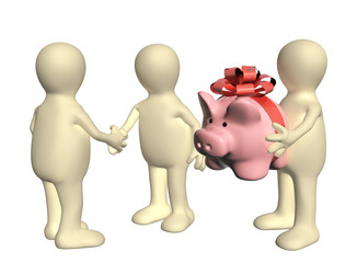 Three puppets with piggy bank