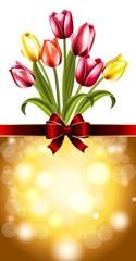 Открытка с тюльпанами на 8 марта