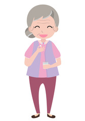 Old woman taking medicine, vector
