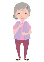 Old woman taking medicine, vector