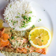 Salmon with lemon and rice