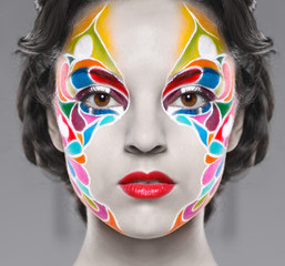 Beautiful young model with bright make up